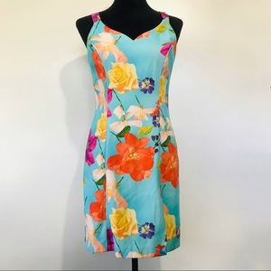 Vintage Floral Silk Dress Hawaiian Bright Cocktail